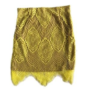 Boutique! NWT Yellow Lace Pencil Skirt